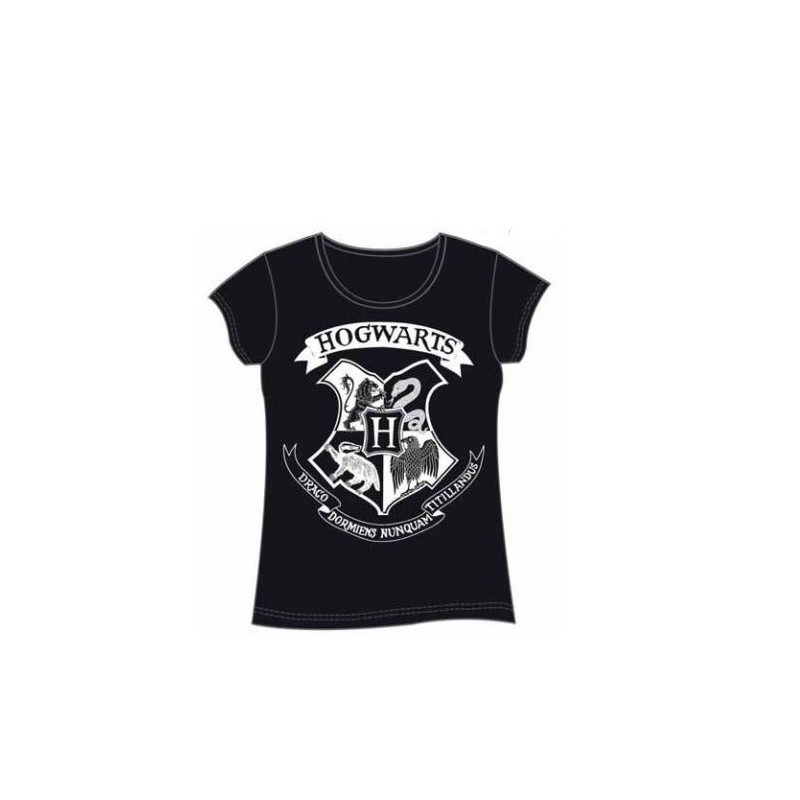 Camiseta Chica Harry Potter Hogwarts Negra S