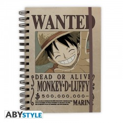 Cuaderno Anillas One Piece Wanted Luffy 21x26cm